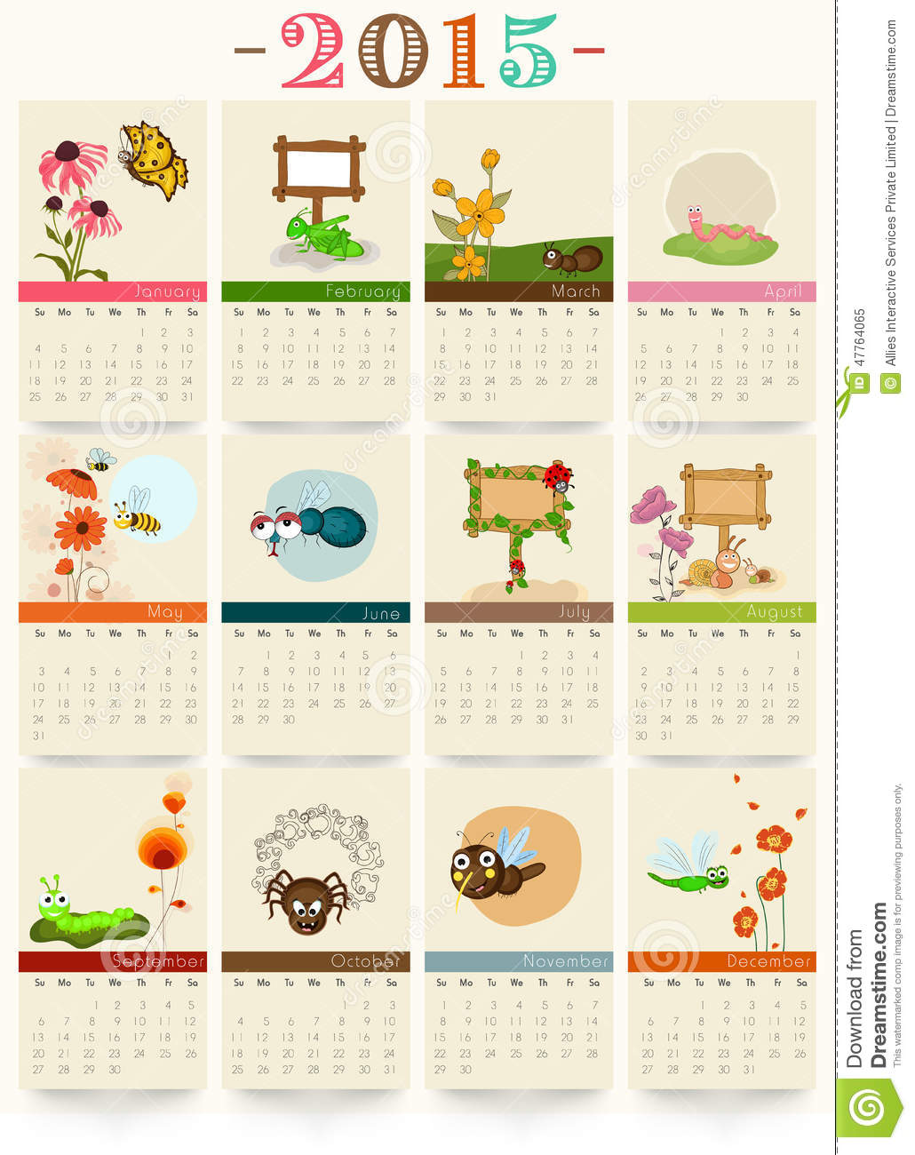 ... of 2015 with funny cartoon of insects for Happy New Year celebrations