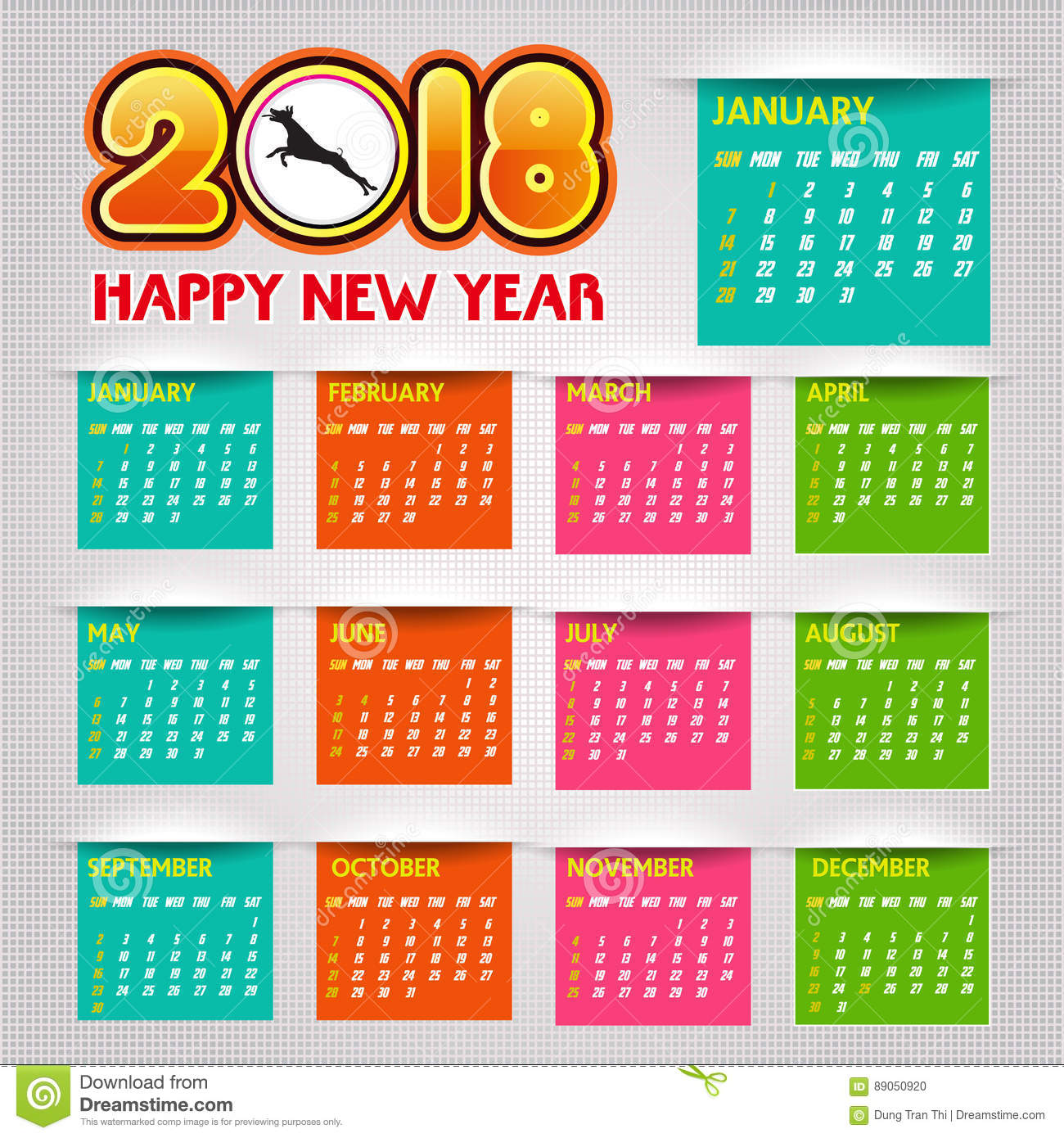 Calendar Illustration Vector : Calendar happy new year vector illustration stock