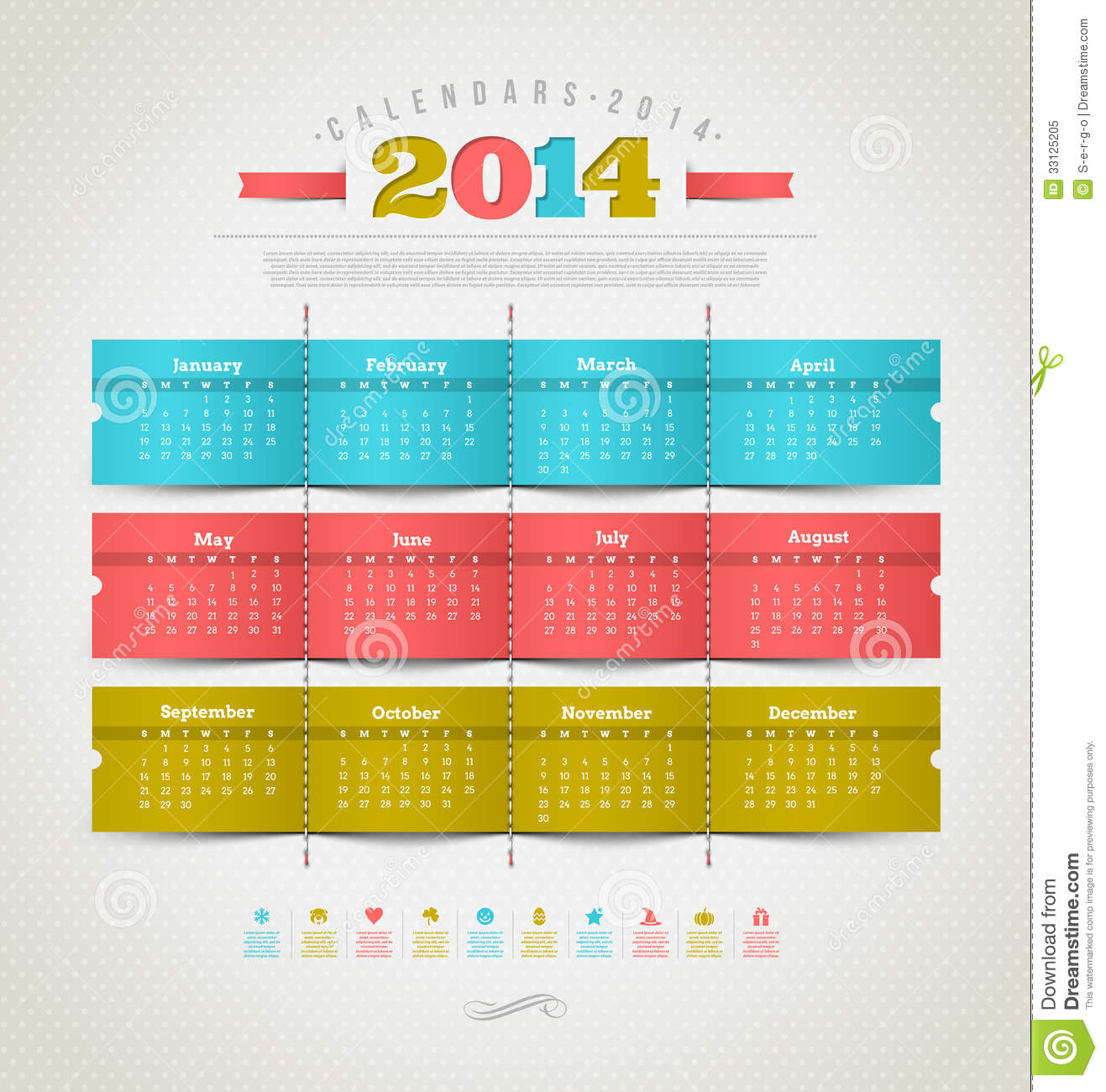 Calendar of 2014 with holidays icons