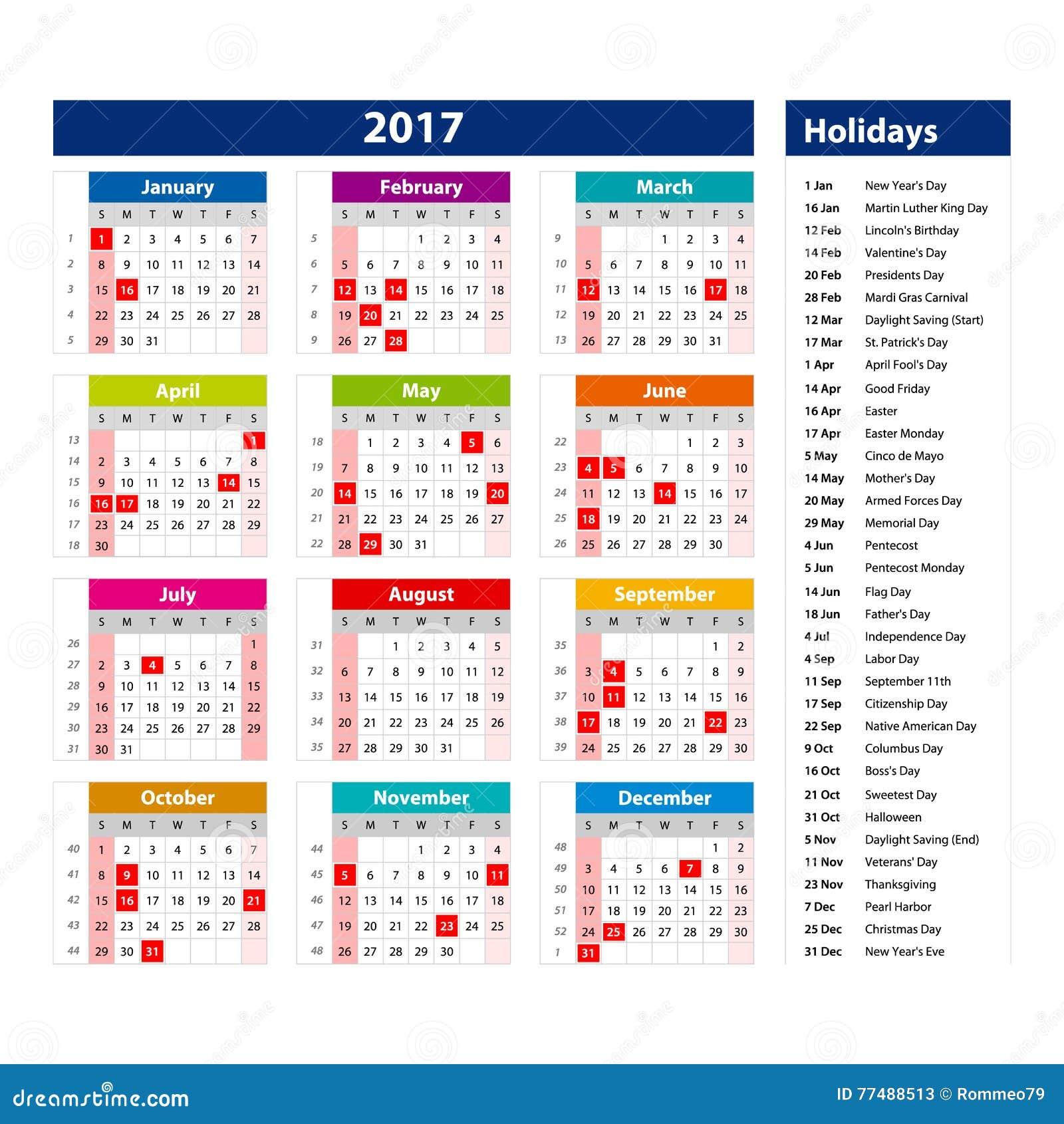 calendar 2017 with holidays usa - Calendar