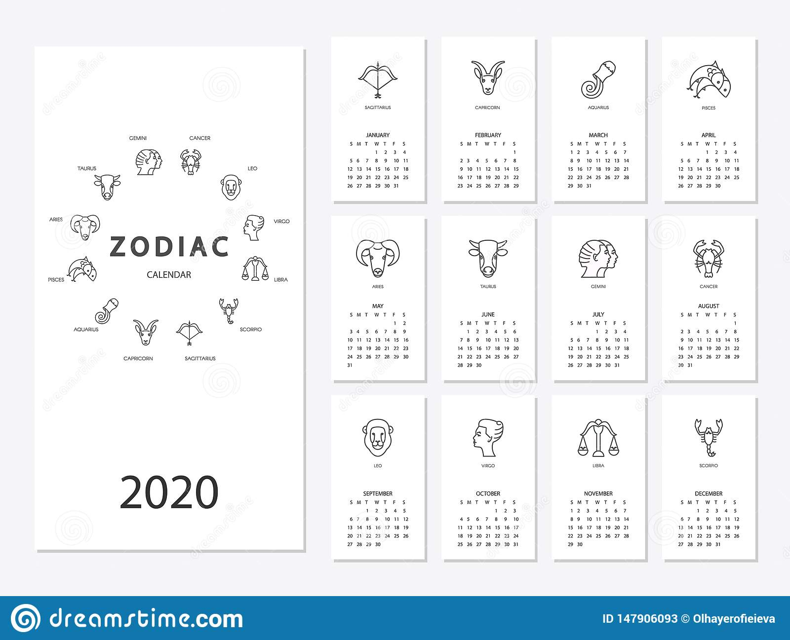 Horoscope Calendar 2020 Calendar 2020 With Horoscope Signs Zodiac Symbols Set Stock Vector
