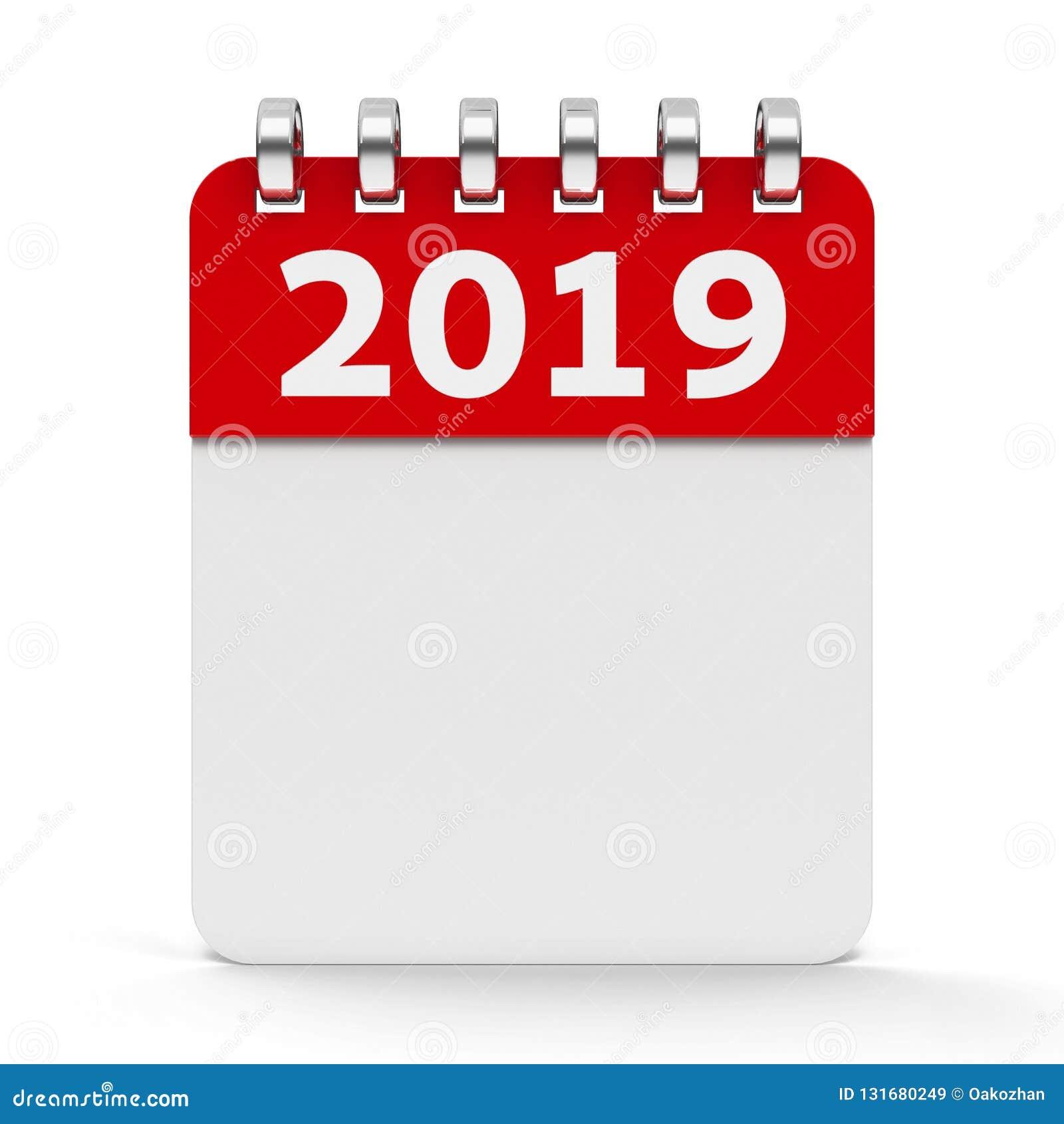 Icon Calendar Spiral 2019 Year Stock Illustration