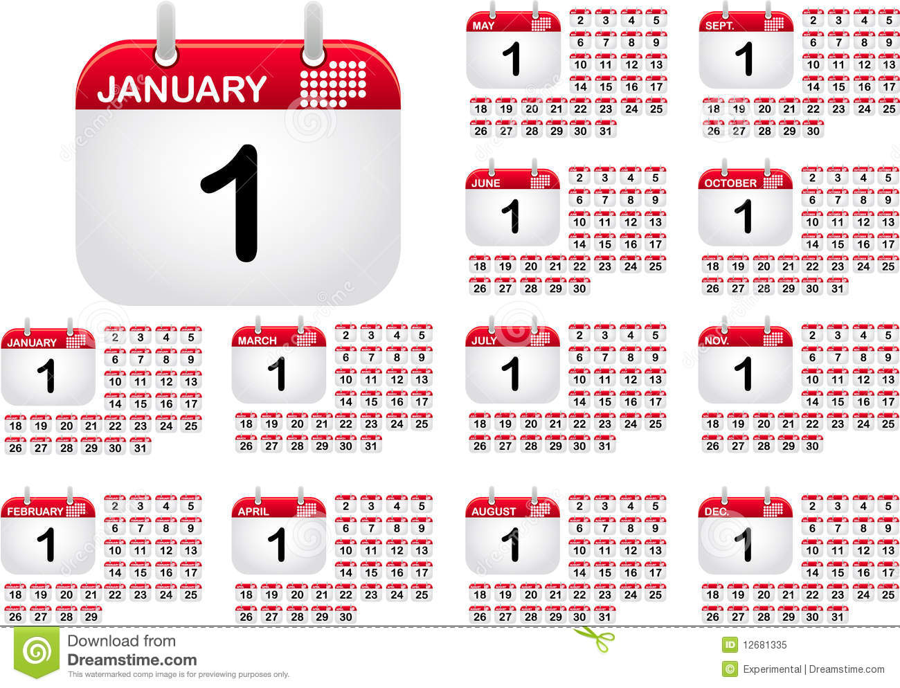 Met Art Calendar : Calendar icons for all monthes of the year royalty free