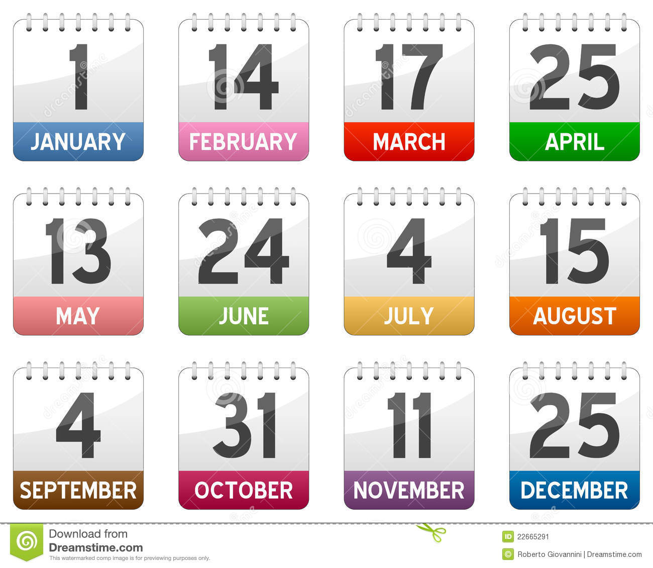Download Calendar Icons Set stock vector. Illustration of march - 22665291