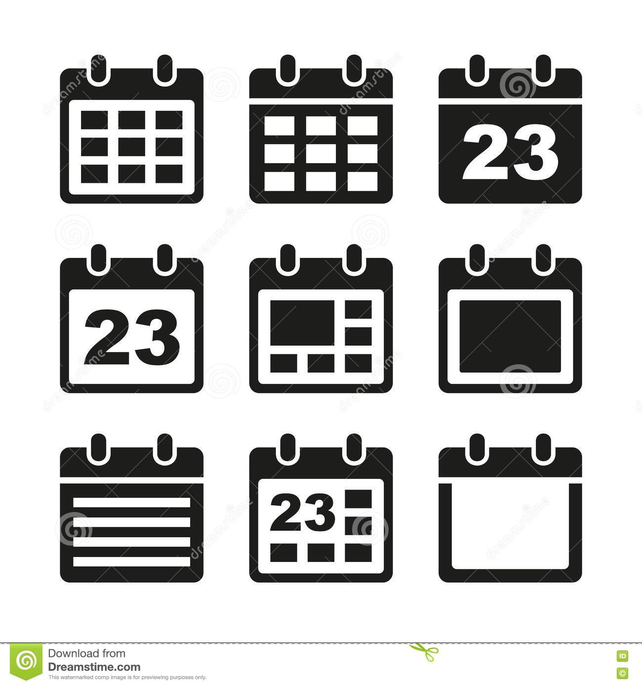Calendar Graphic Icon : Calendar icons set stock vector image of graphic
