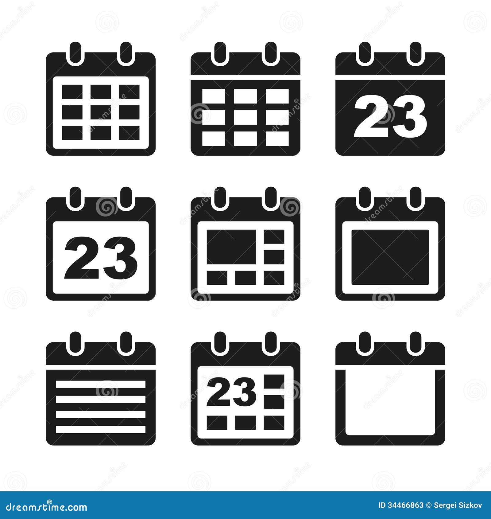 Calendar Day Vector Art : Calendar icons set stock photos image