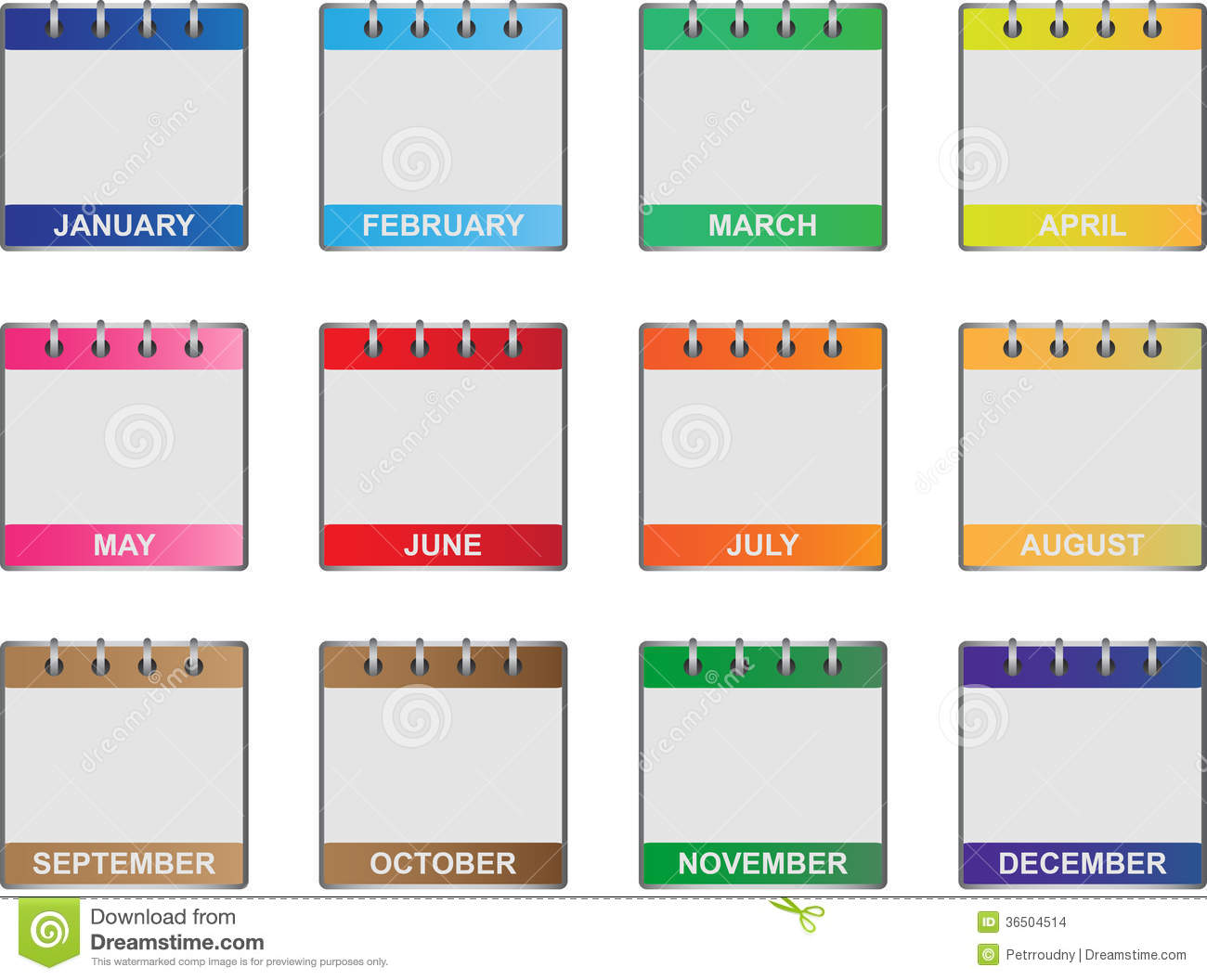 Set of twelve icons of all calendar months in the year.