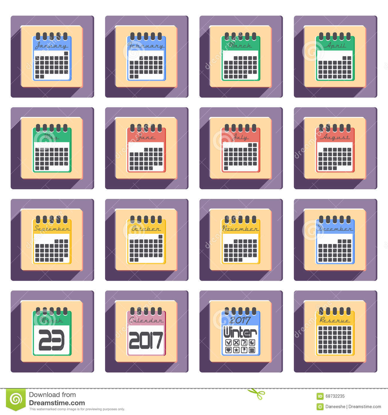 Calendar Month Illustration : Calendar icons set for year in flat style stock