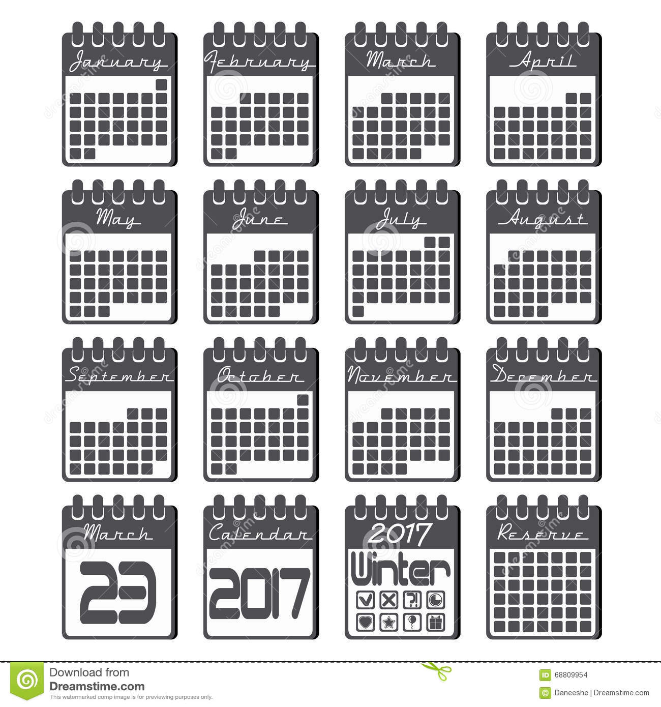 Calendar Flat Illustration : Calendar icons set for year in flat style stock