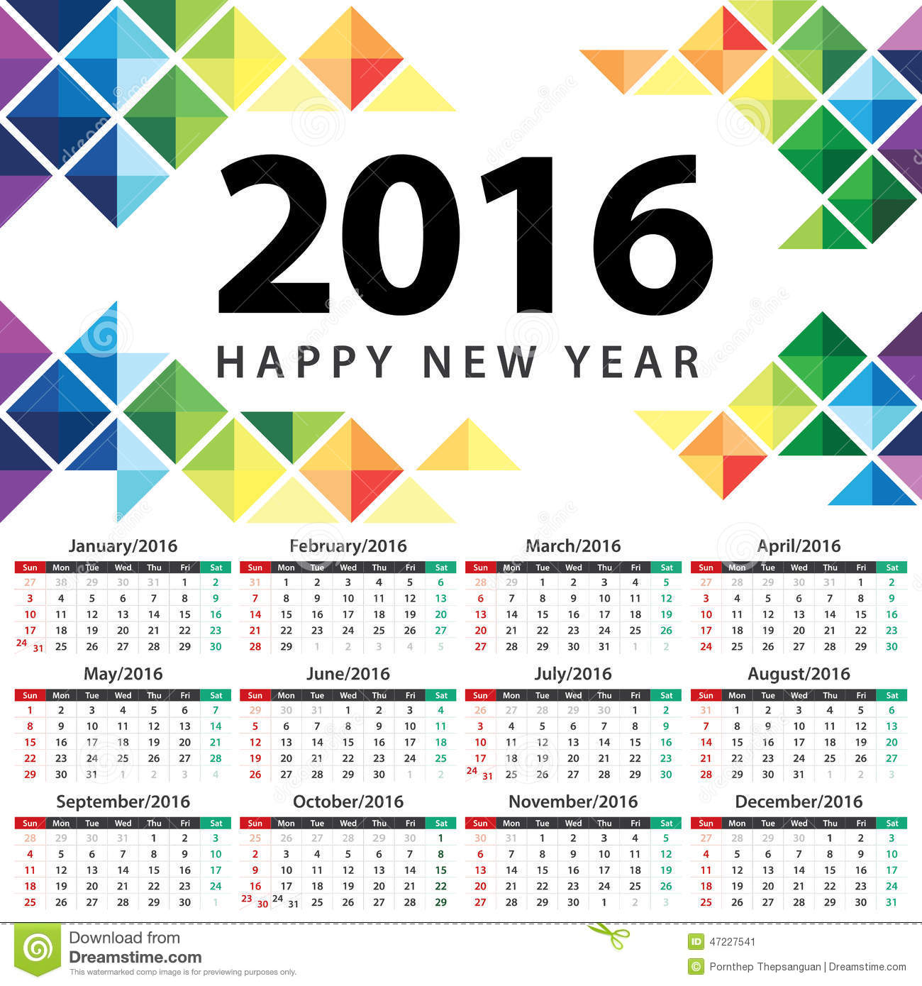 Corporate Calendar Design 2016 : Calendar stock vector image