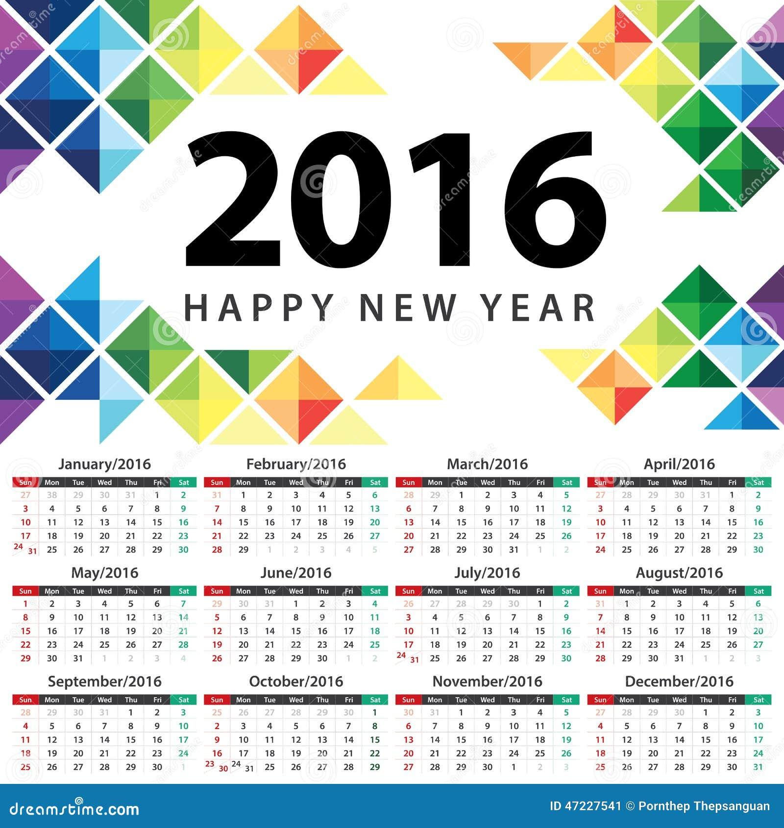 calendar 2016 stock vector illustration of card illustration