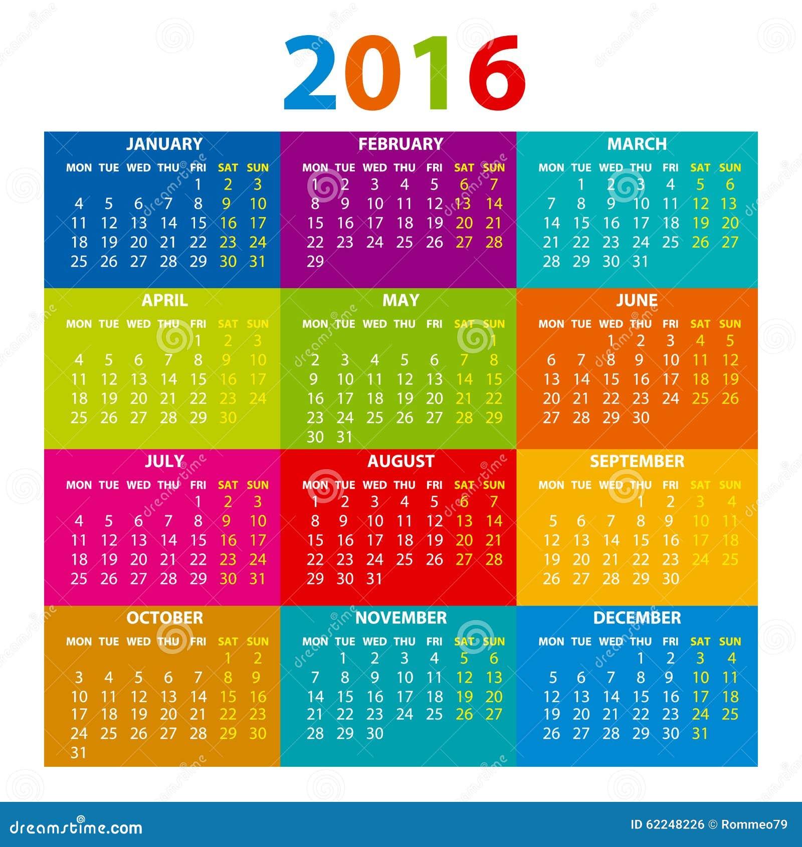 Illustration Calendar Design : Calendar illustration vector color design stock