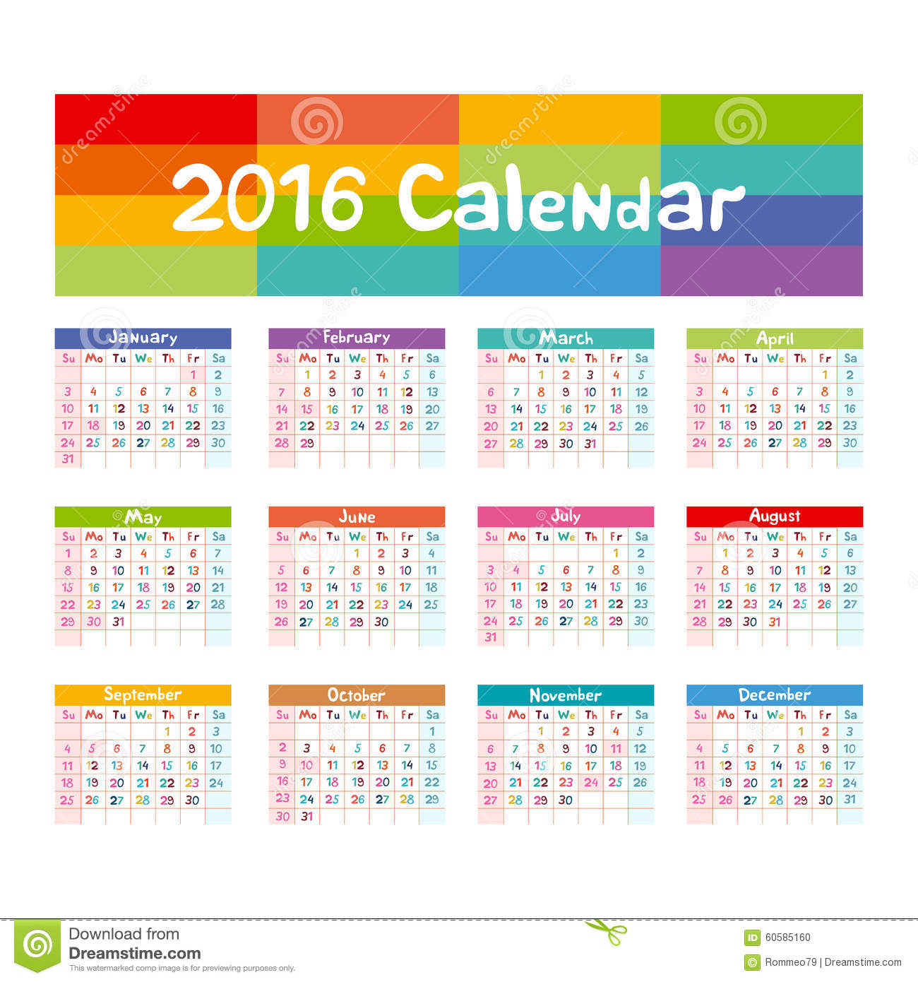 2016 Calendar - Illustration Vector Kids Hand Made Stock Vector ...