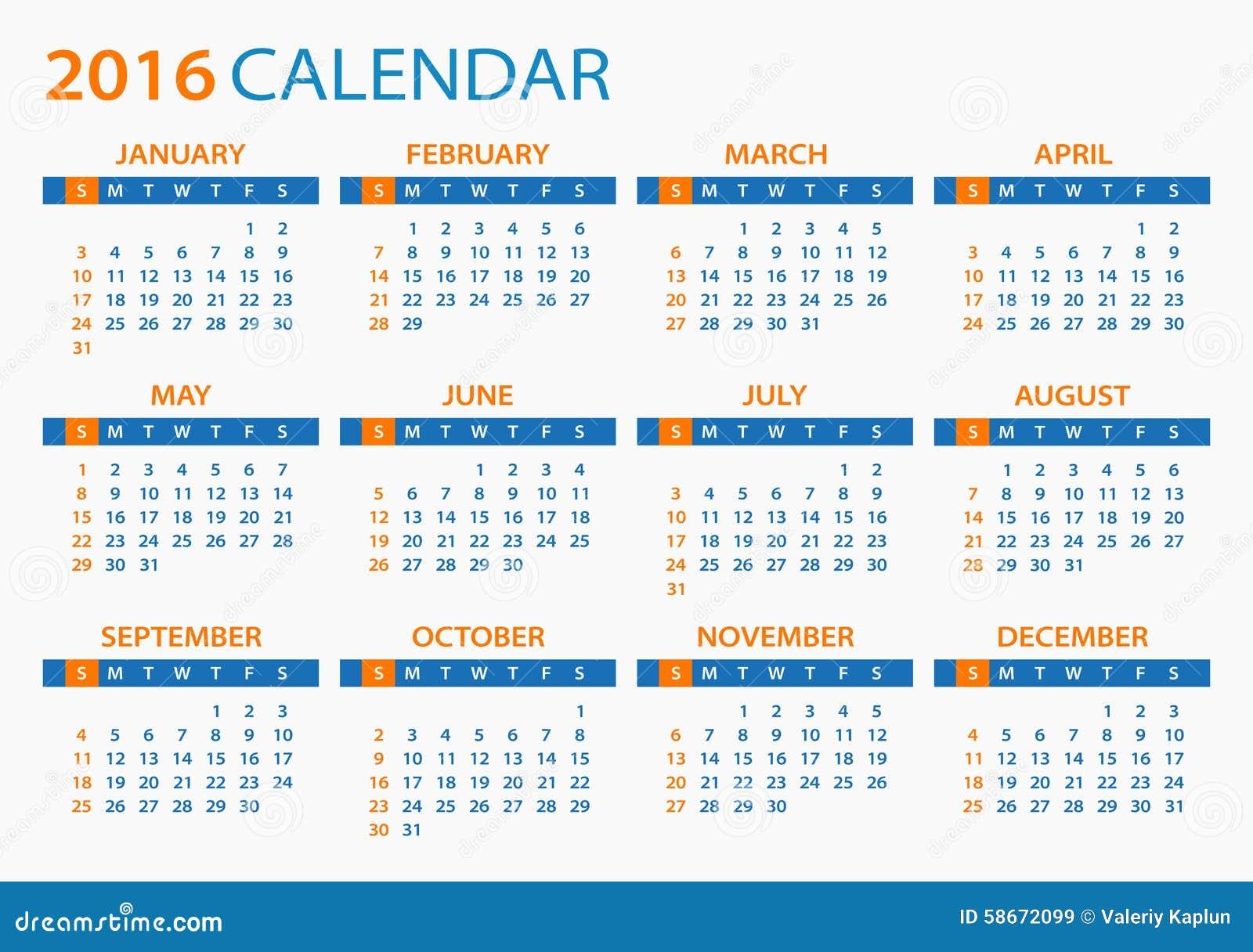 Calendar 2016 Color