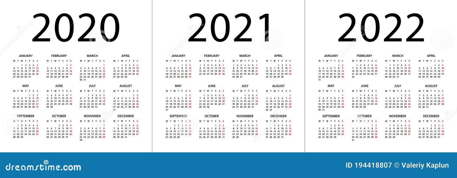 Csn Calendar 2022.Calendar 2020 2021 2022 Illustration Week Starts On Monday Calendar Set For 2020 2021 2022 Years Stock Illustration Illustration Of Assistant Simple 194418807