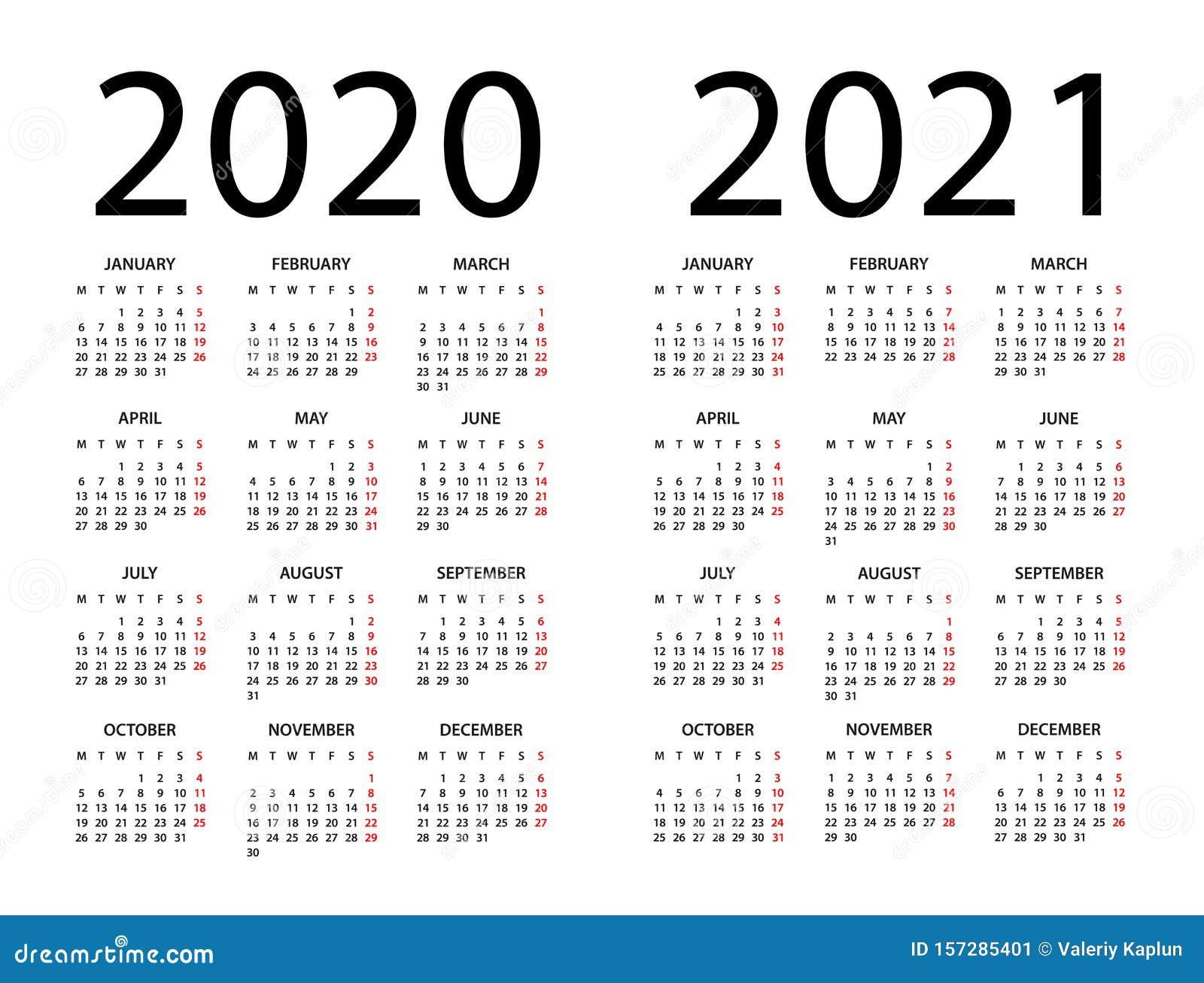 Calendar 2020 2021 - Illustration. Week Starts On Monday ...