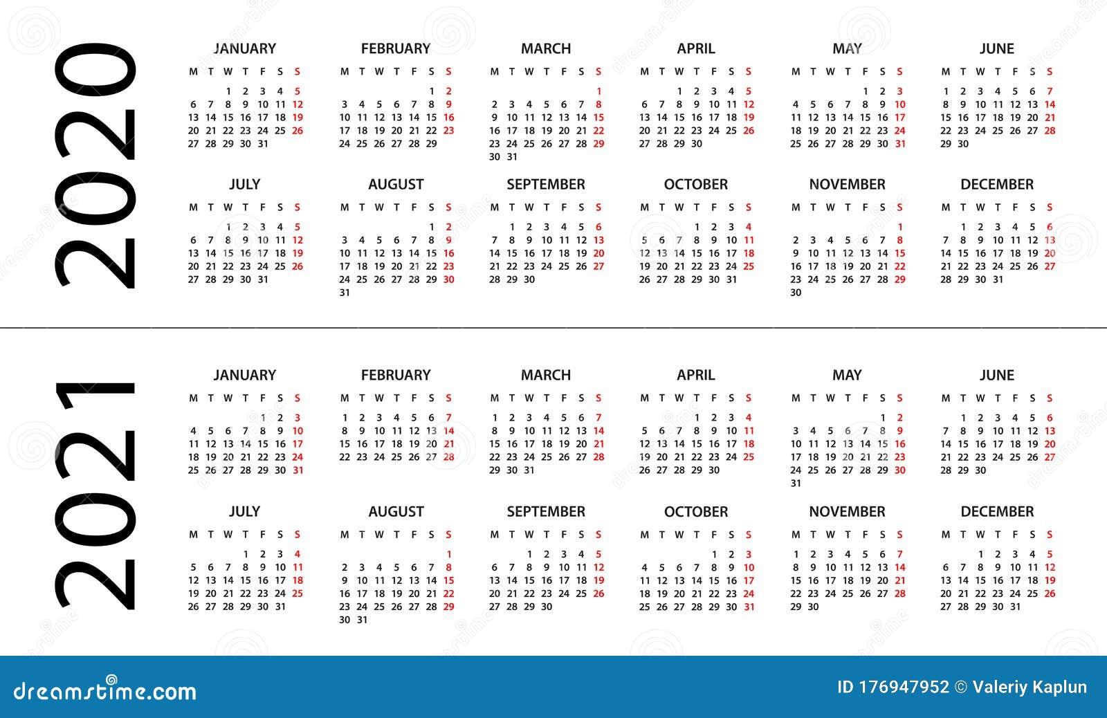 Calendar 20 20   Illustration. Week Starts on Monday Stock ...