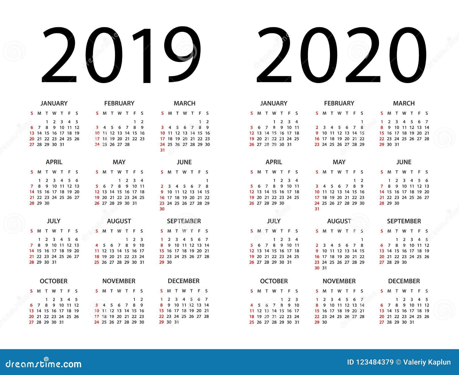 Calendar By Week 2020 Calendar 2019 2020   Illustration. Week Starts On Sunday Stock