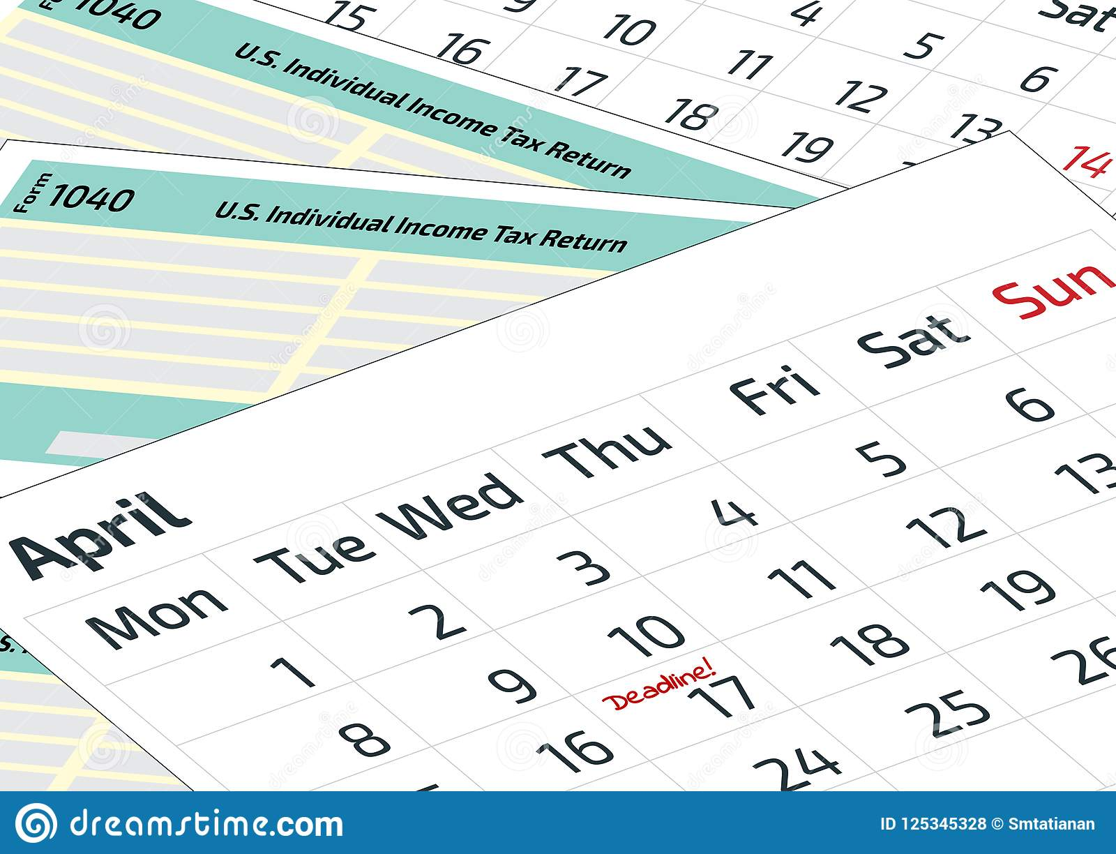 2020 Tax Calendar A Calendar And 1040 Income Tax Form. 2019, 2020 Tax Form 1040 And