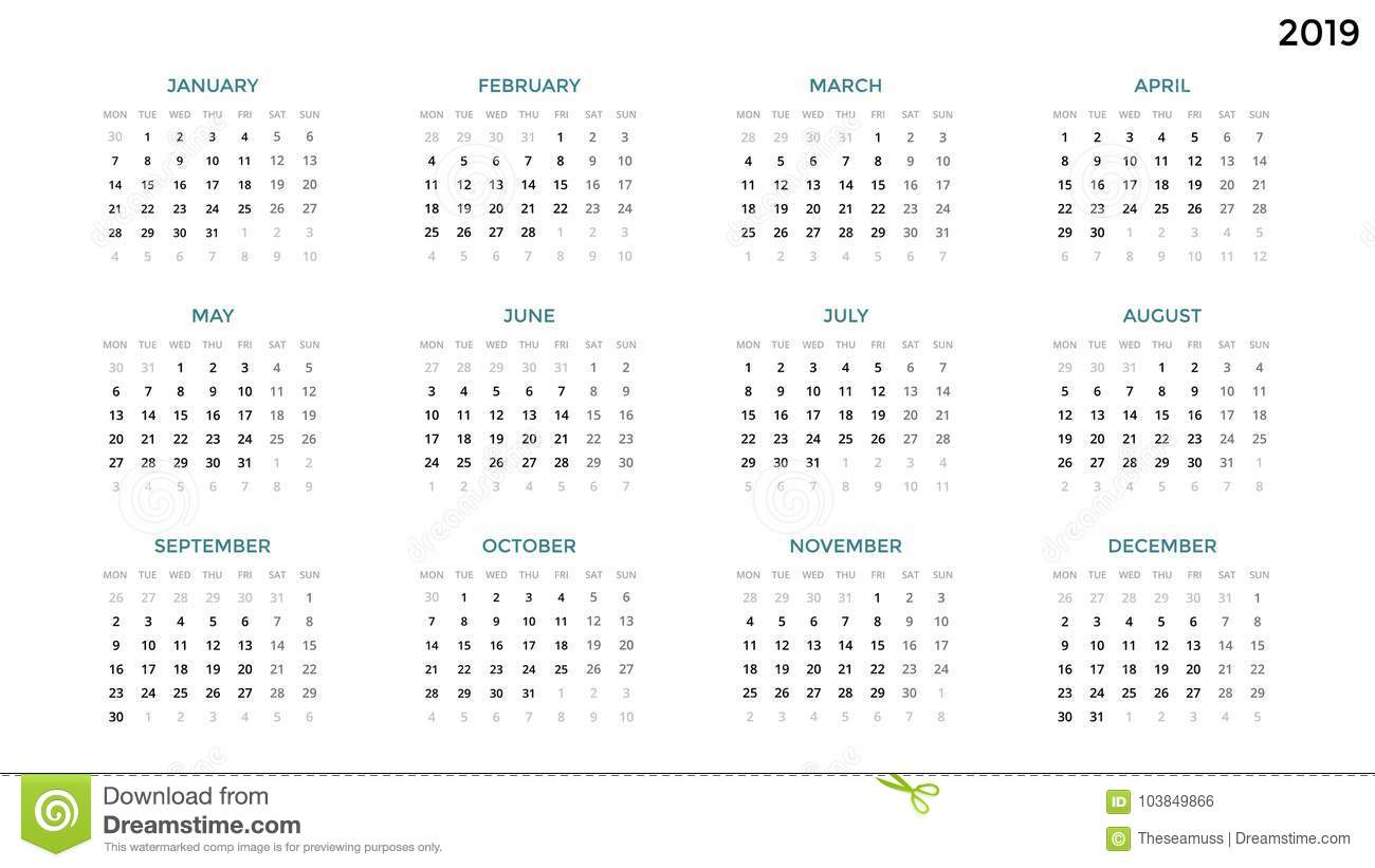 13 Period Calendar 2019 Calendar Infographic, Table Chart, Presentation Chart. Business