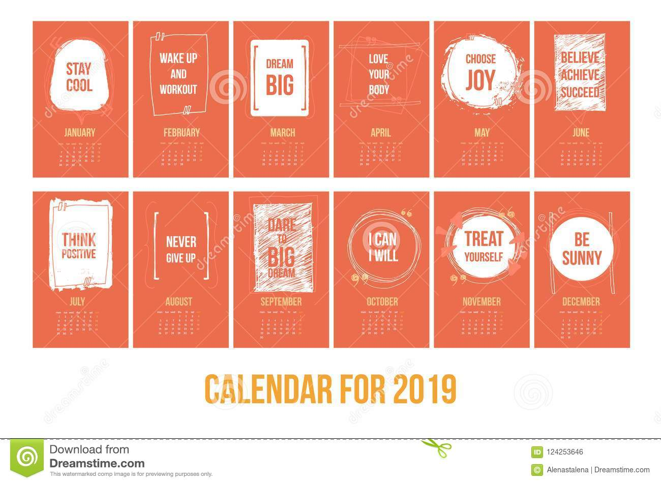 Calendar With Inspiring Quotes 2019 Bright Colorful Year Template