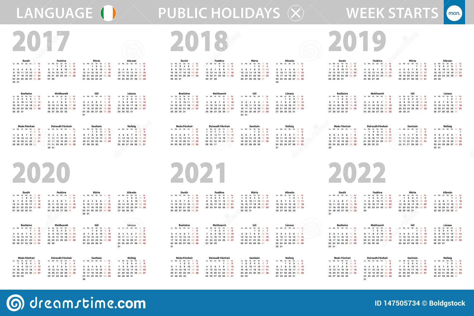 Calendar In Irish Language For Year 2017 2018 2019 2020 2021 2022 Week Starts From Monday Stock Vector Illustration Of Calendar Tuesday 147505734