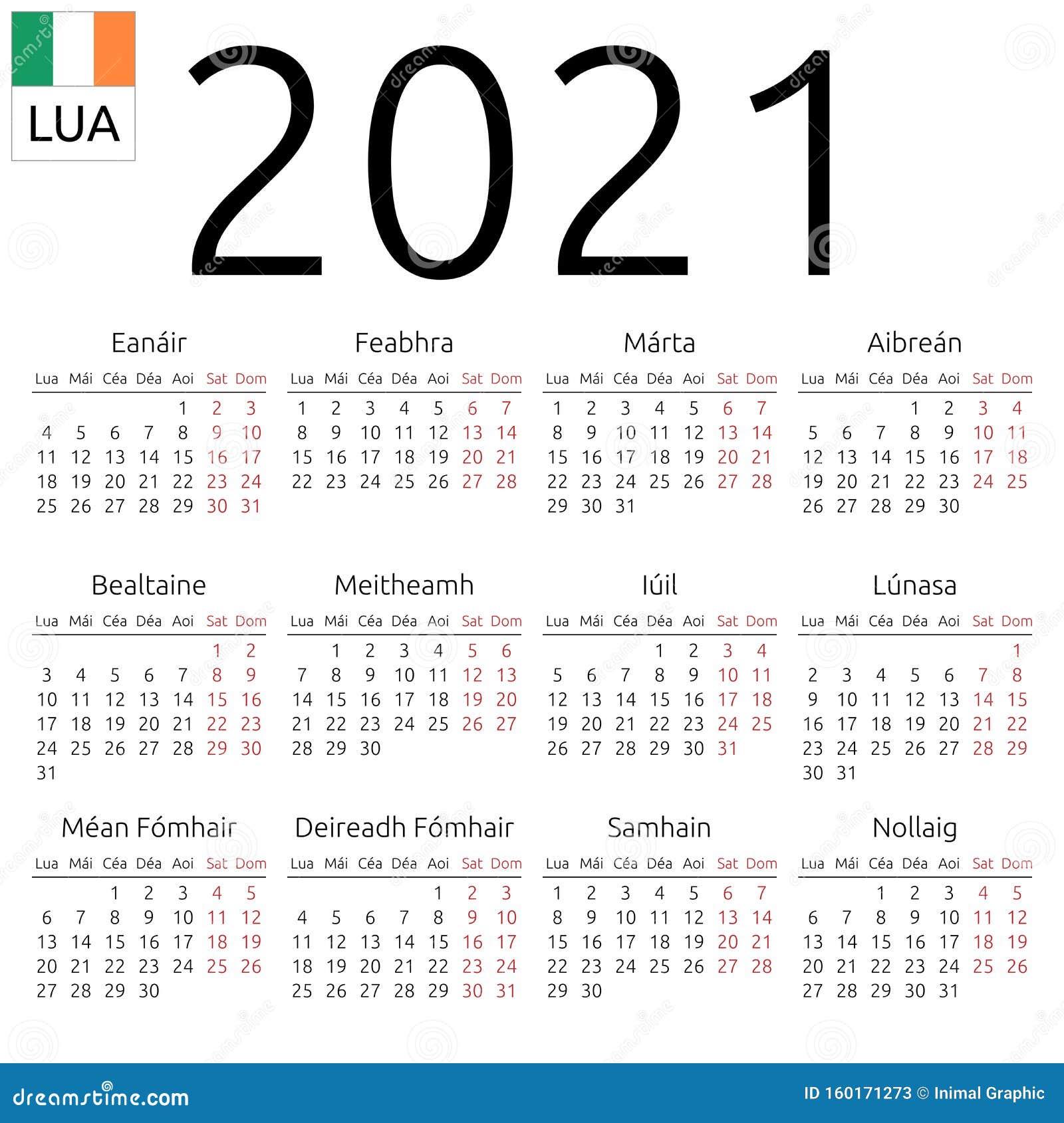 Calendar 2021, Irish, Monday Stock Vector - Illustration ...