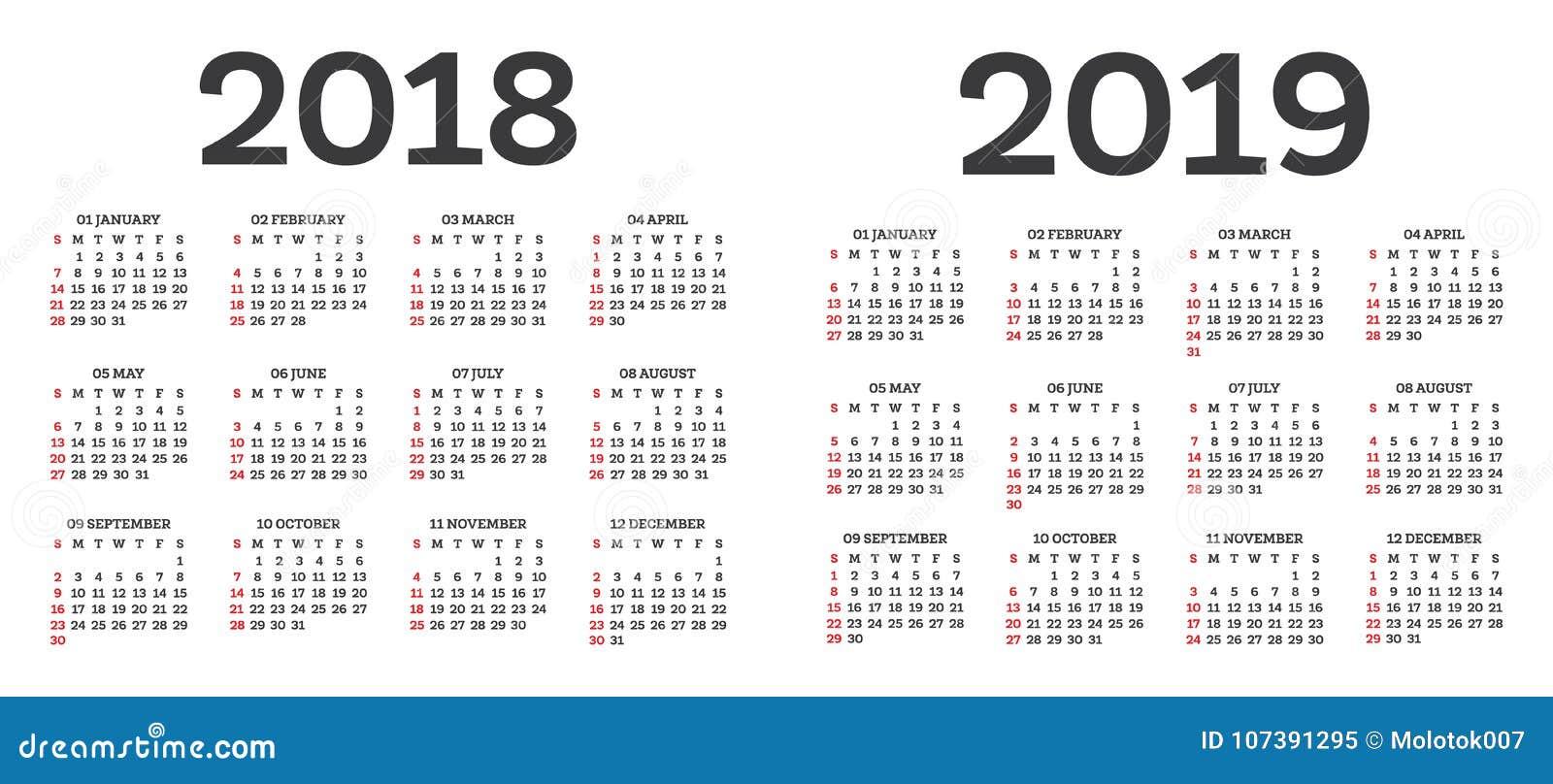 Calendario 2019 Illustrator.Calendar 2018 2019 Isolated On White Background Stock