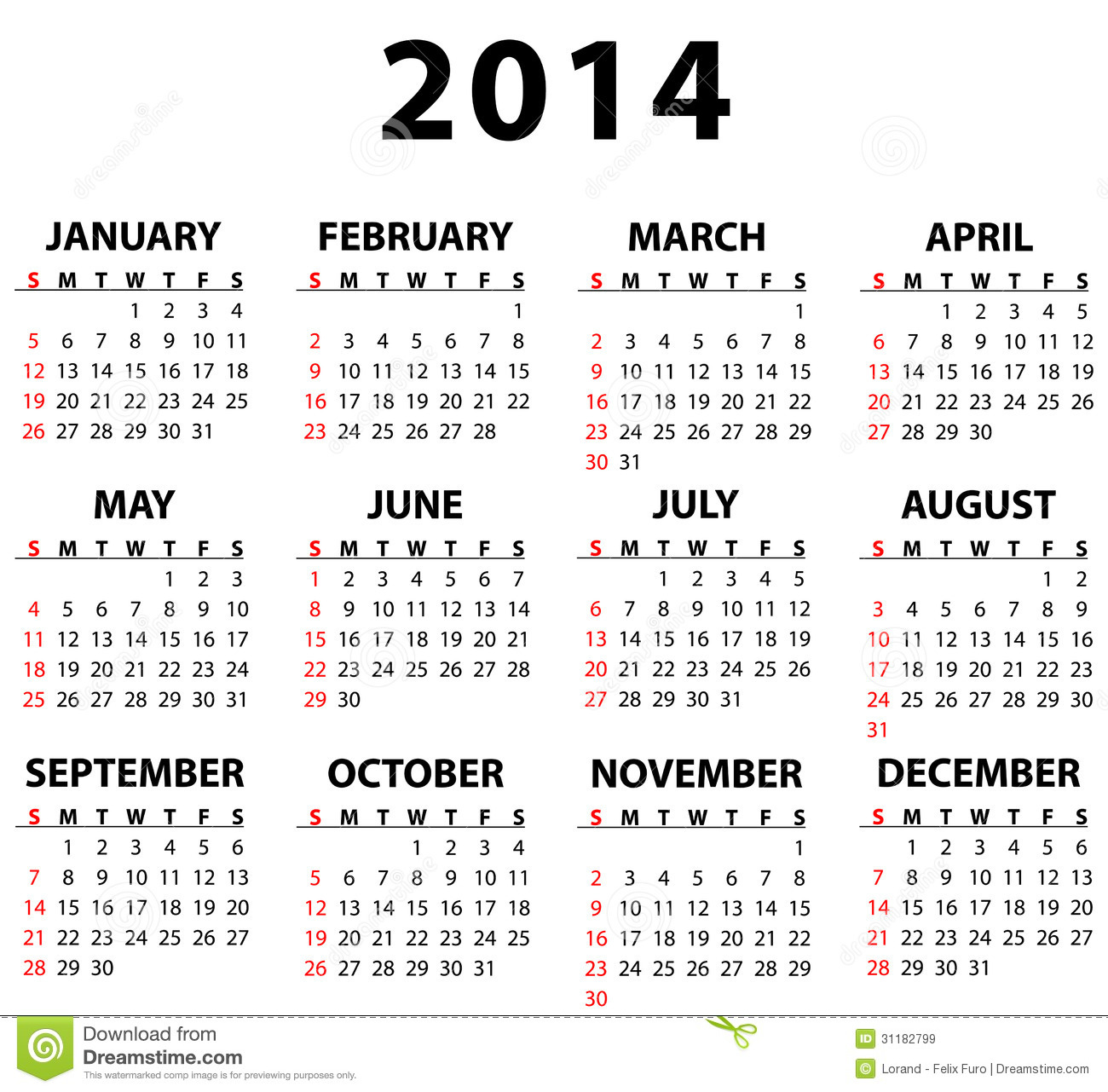 Calendar for 2014 isolated on white background. Starts Sunday.