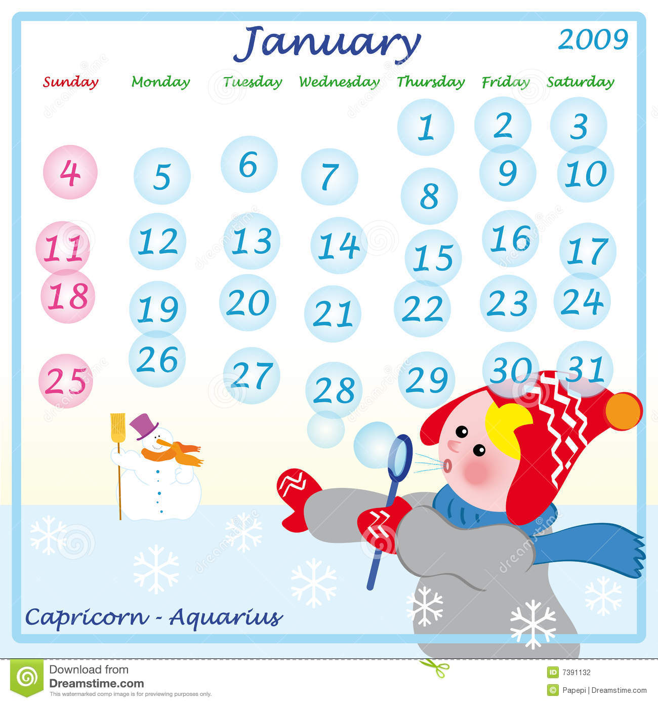 January Calendar 2009 : Calendar january stock photography image