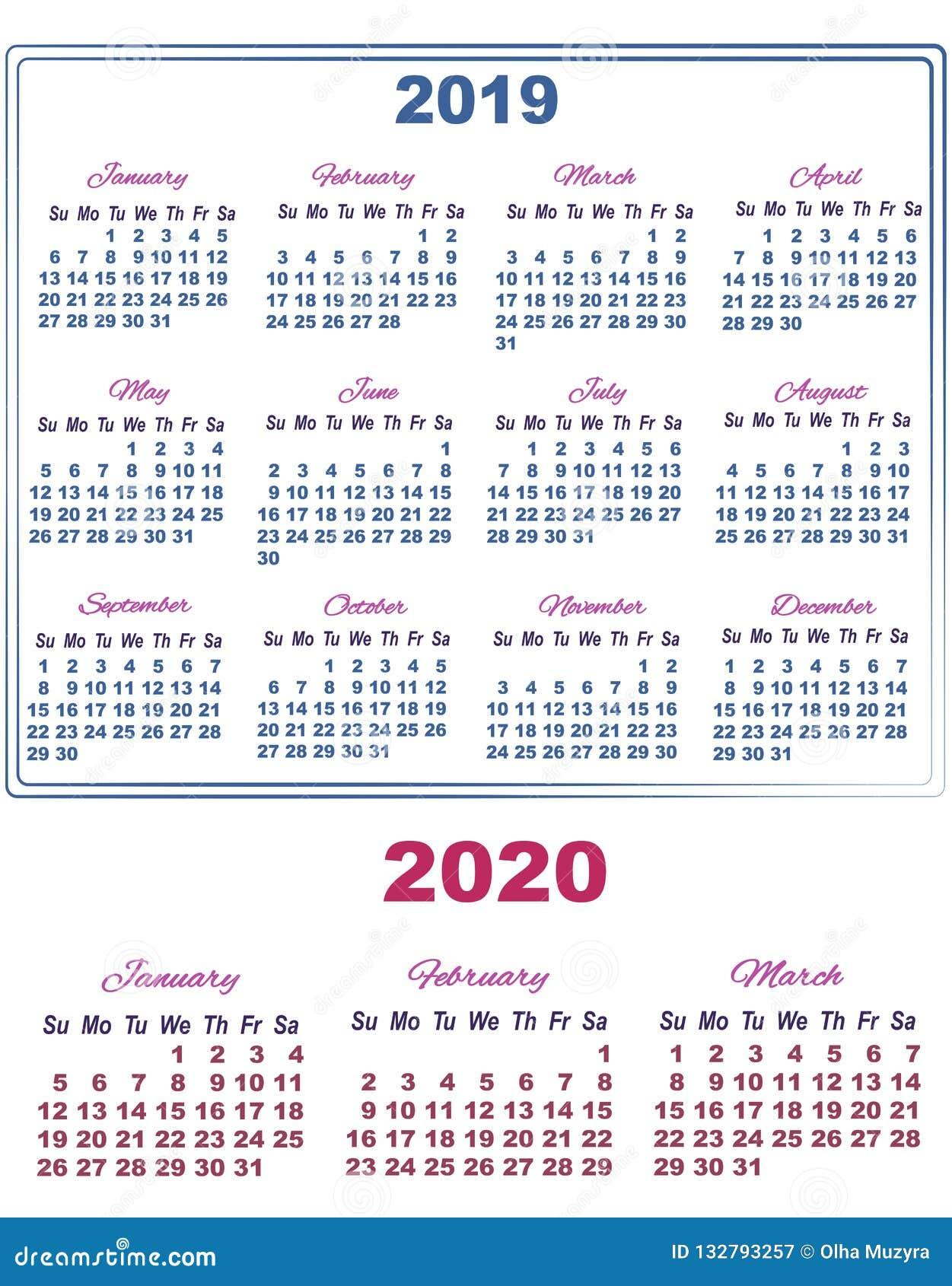 Calendario Rosa 2020.January Fabruary Stock Illustrations 5 January Fabruary