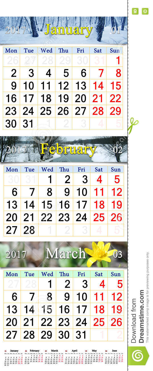 Calendar For January February And March 2017 With Pictures Stock ...