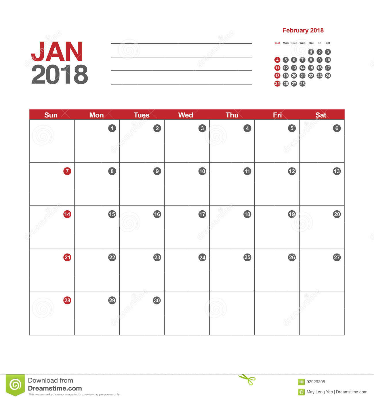 template of calendar for january 2018