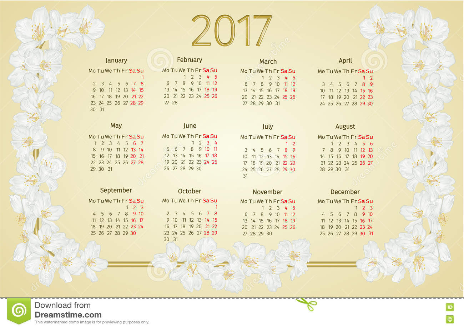 Calendar 2017 With Jasmine Flowers Vintage Vector Stock Vector - Image ...