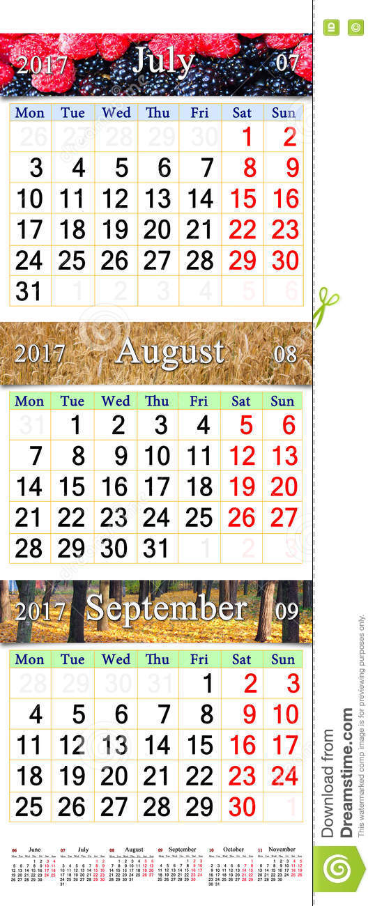 Calendar For July August October 2017 With Three Colored Images
