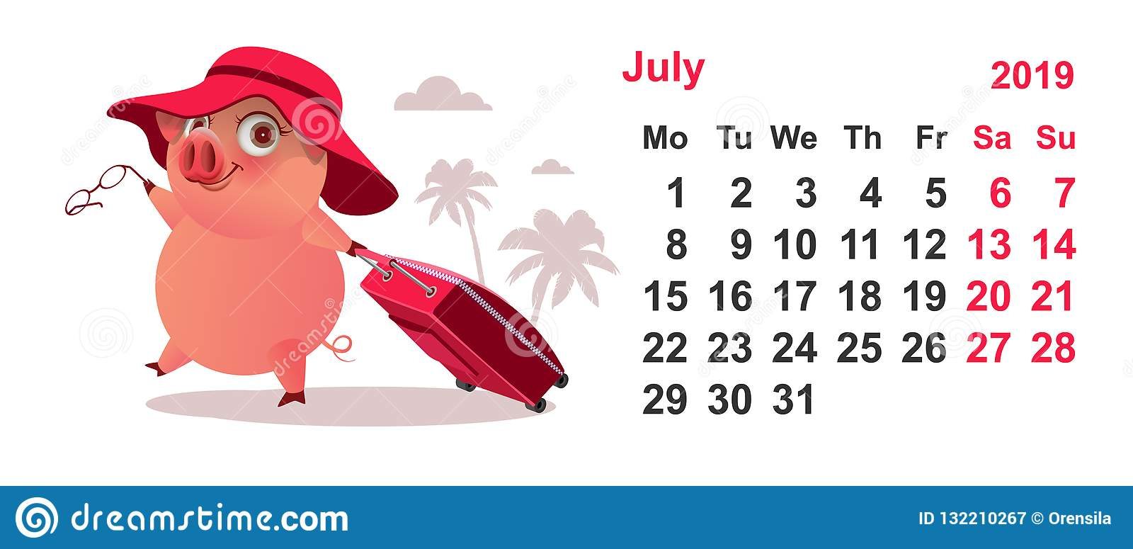 Calendario Julio 2019 Vector.Calendar July 2019 Pig Gathered On Vacation With Suitcase