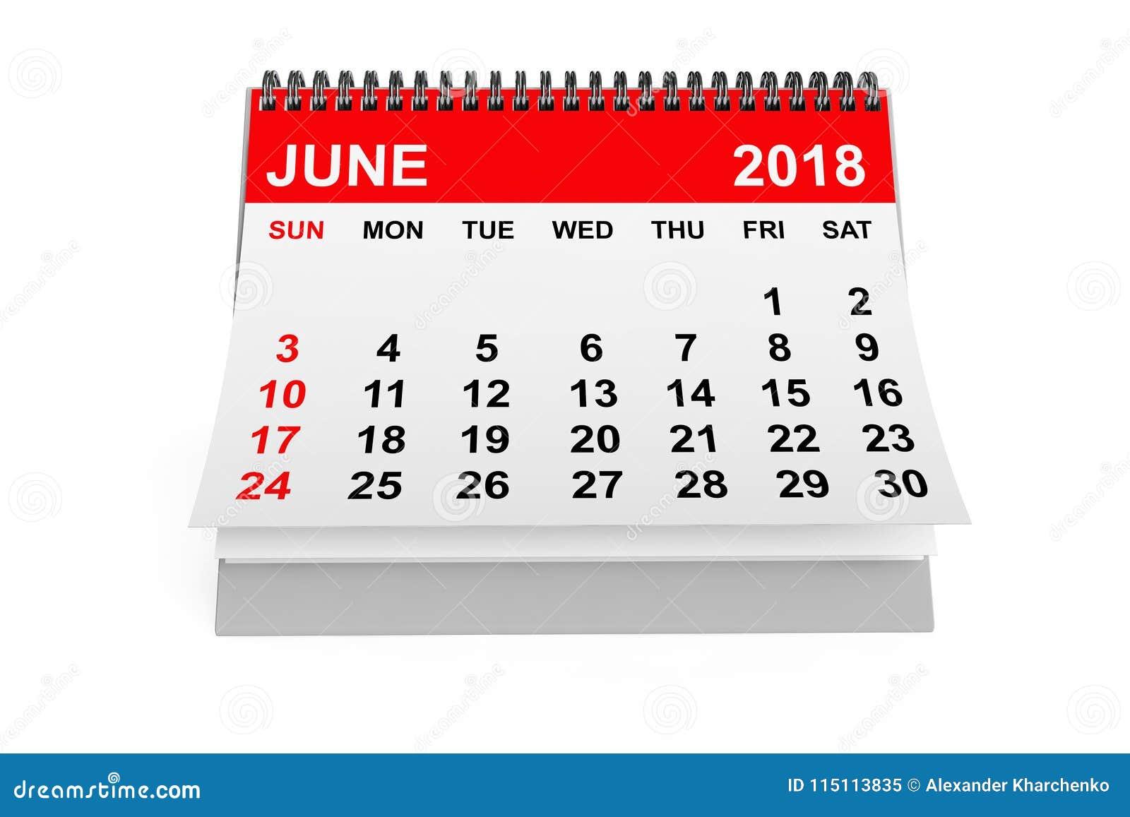 Calendar Illustration List : Calendar june d rendering stock illustration
