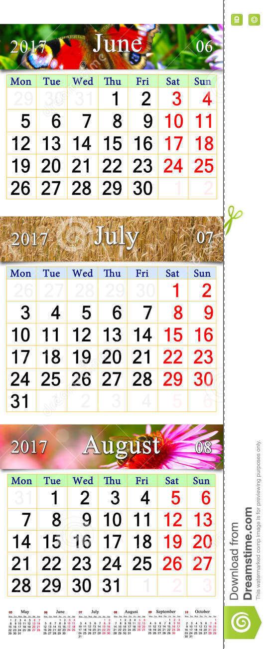 Calendar June July August 2017 : Calendar for june july and august with colored
