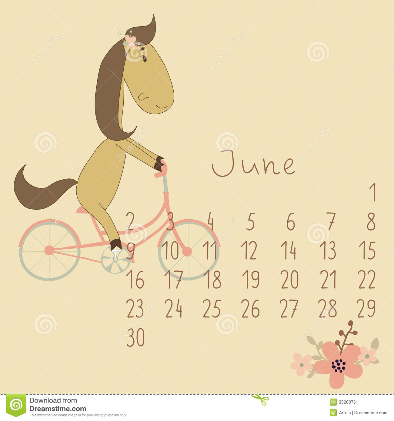 Calendar For June 2014. Year Of The Horse. Stock Image - Image: 35203761