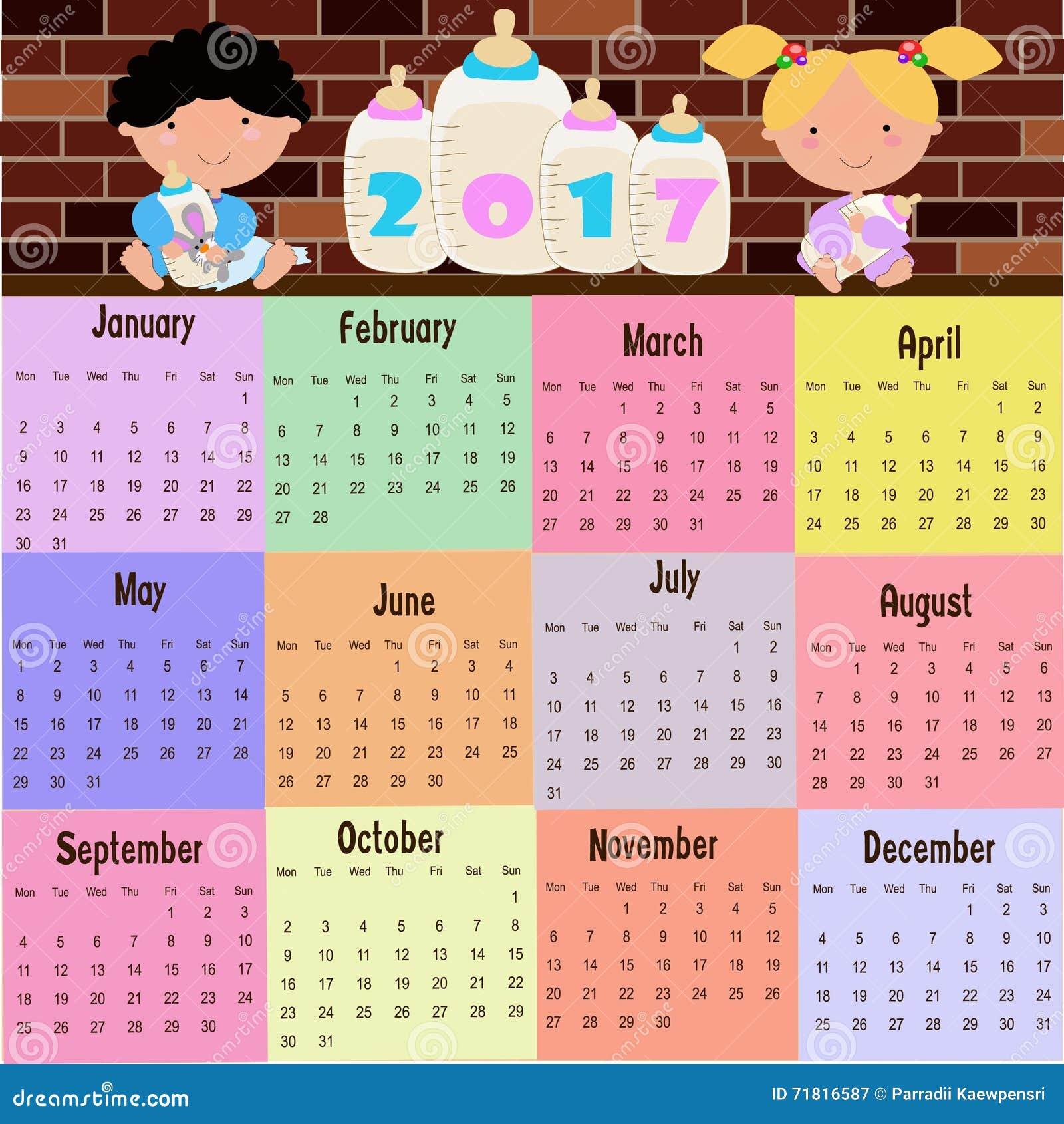 2017 Calendar Stock Vector Image 71816587