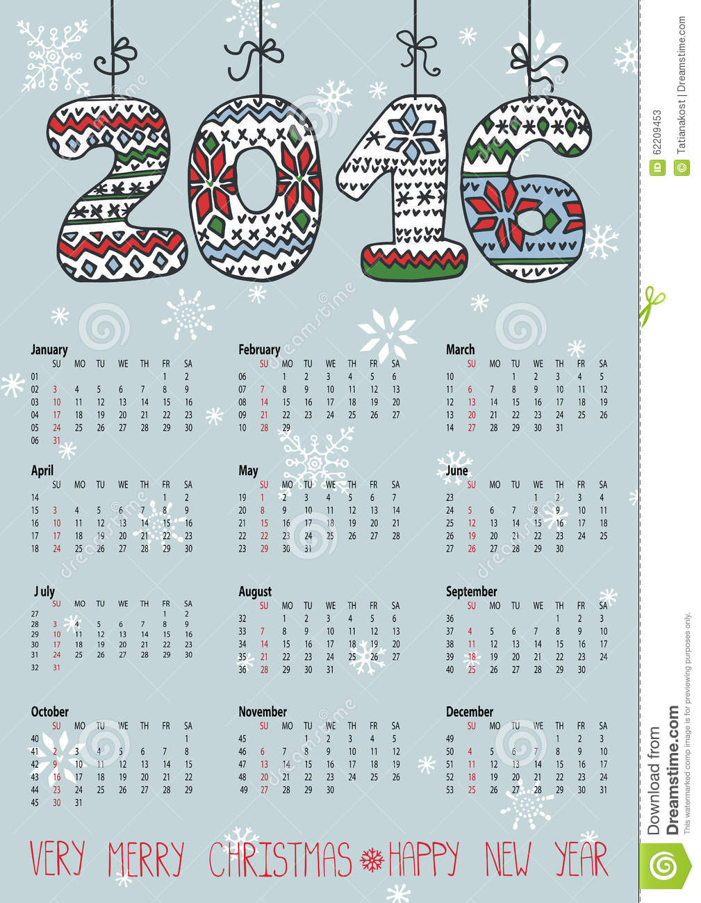 Knitting Pattern Numbers : Calendar 2016.Knitting Hanging Numbers Stock Vector - Image: 62209453