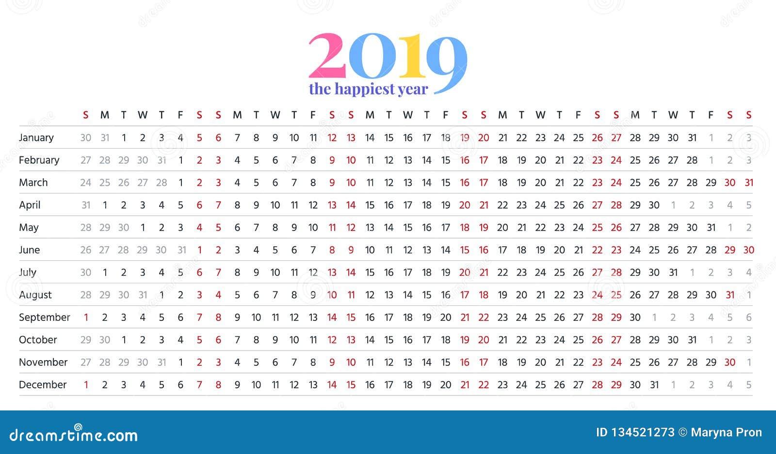 2019 calendar year  vector illustration  template planner
