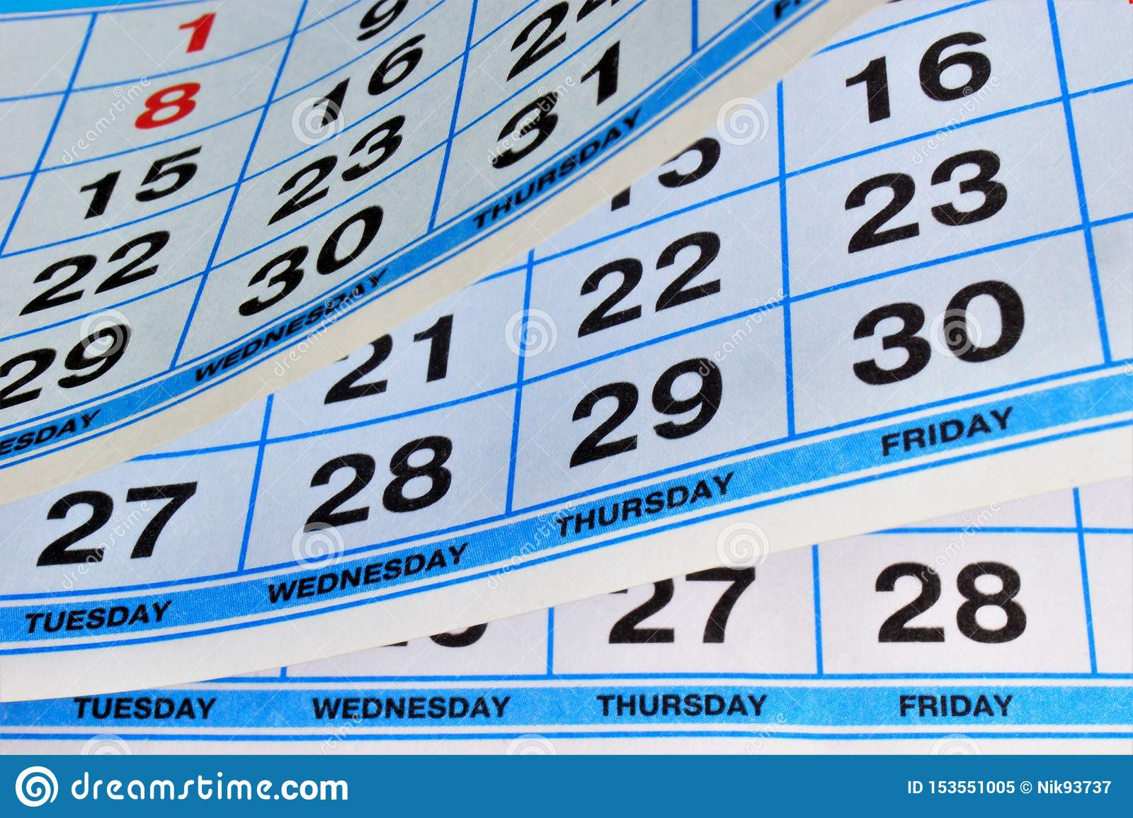 Calendar - A List Of Days Of The Year Divided Into Weeks, Months ...