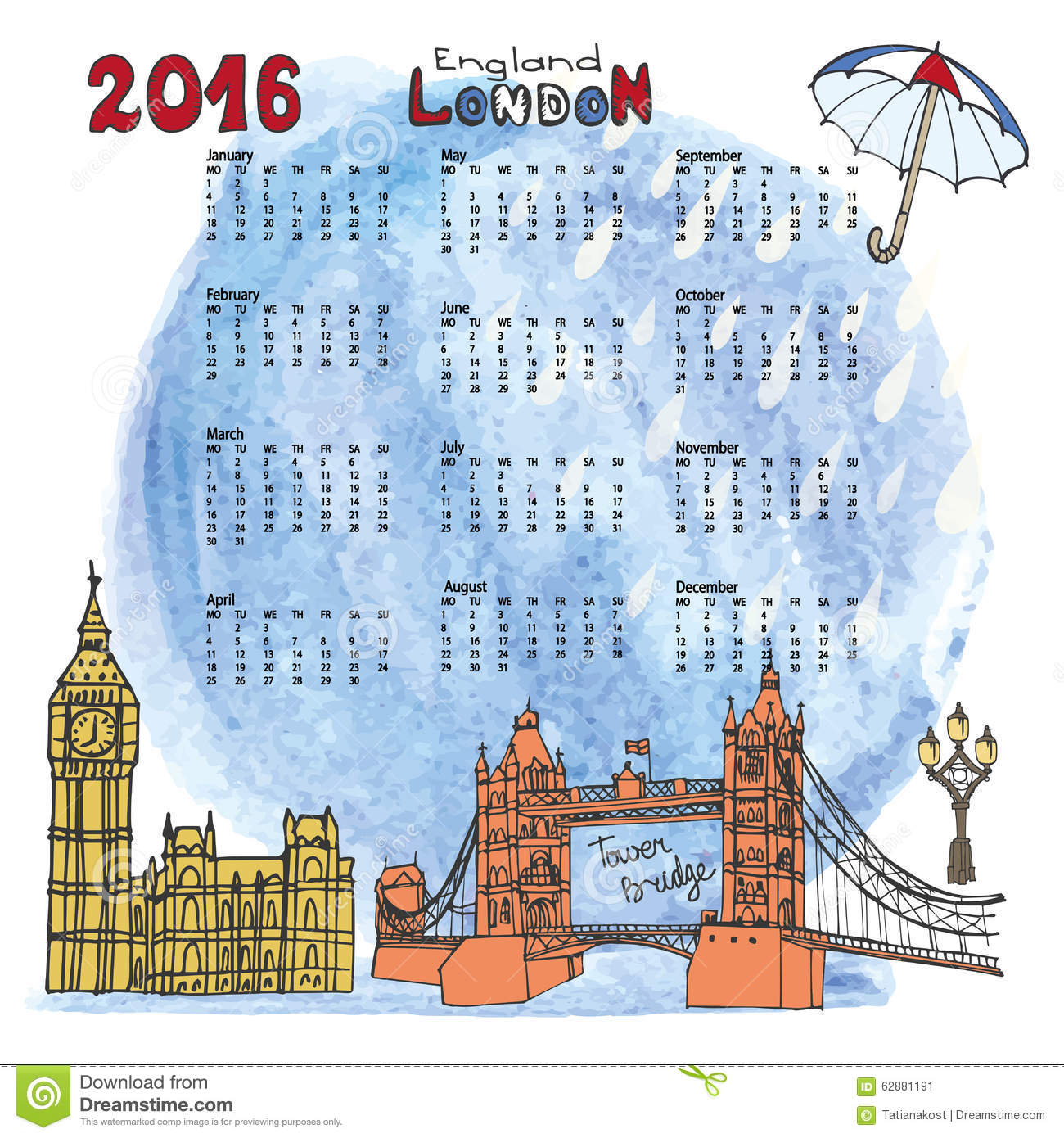 Panorama Calendario.Calendar 2016 London Landmarks Panorama Watercolor Stock Vector