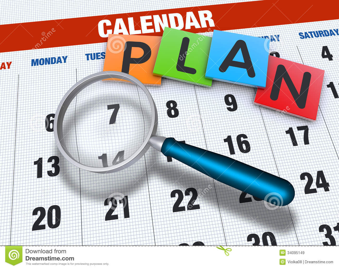 Calendar With Magnifying Glass Royalty Free Stock Images - Image ...