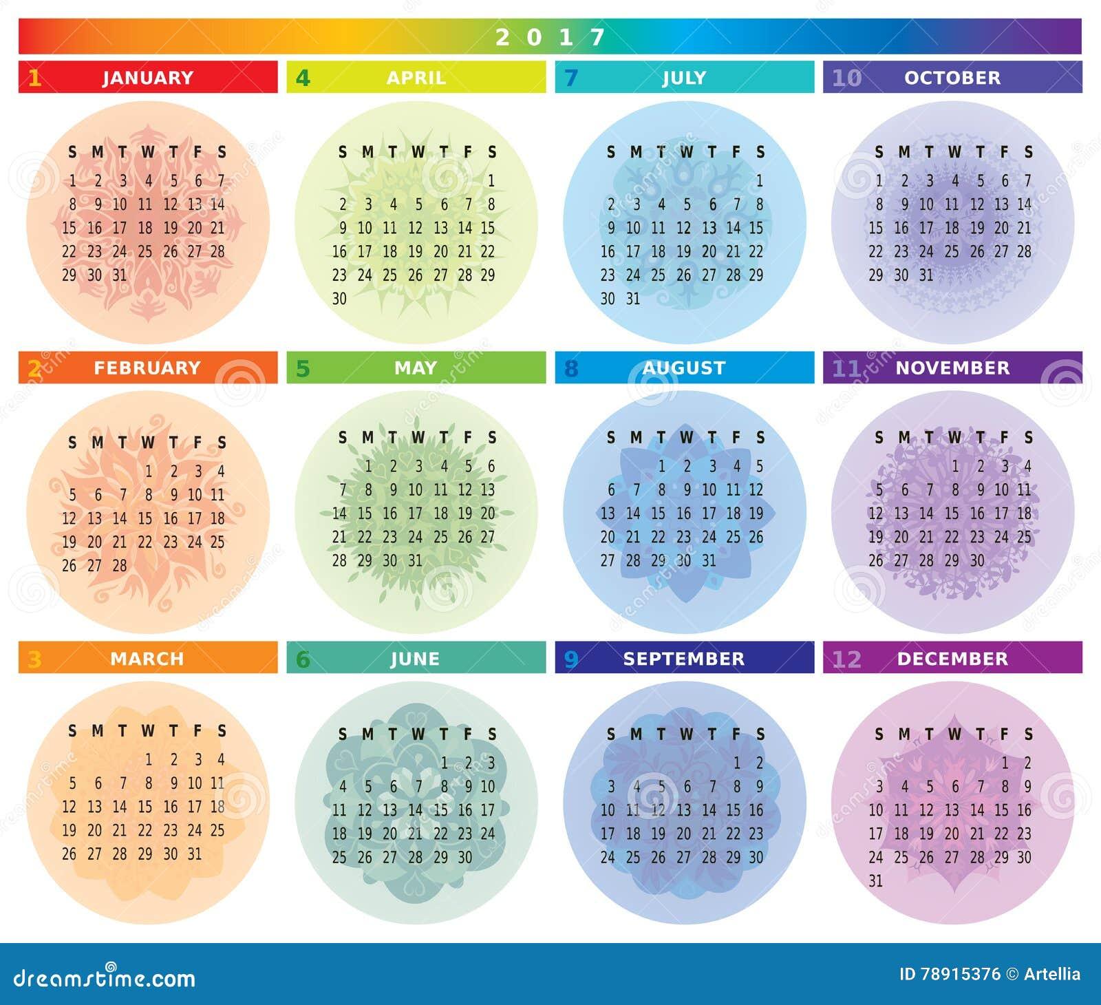 Calendario Rainbow.2017 Calendar With Mandalas In Light Rainbow Colors Stock