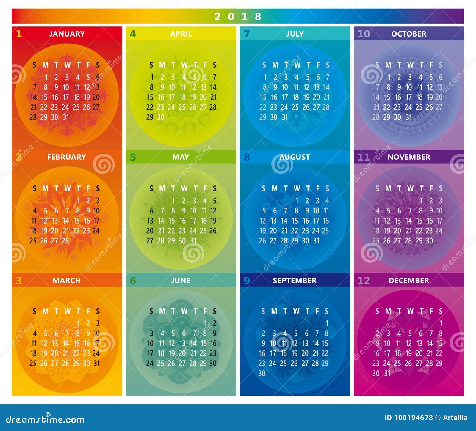 Calendario Rainbow.2018 Calendar With Mandalas In Rainbow Colors Stock Vector