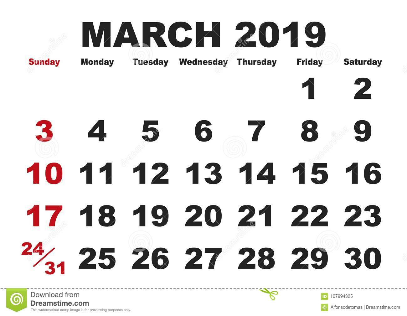 March Month Calendar 2019 English Usa Stock Vector Illustration Of