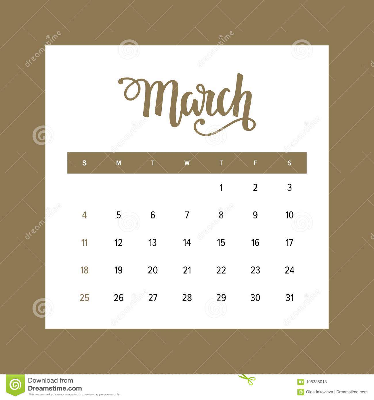 Calendar 2018 March One Month Of The Year Elegant Design Template