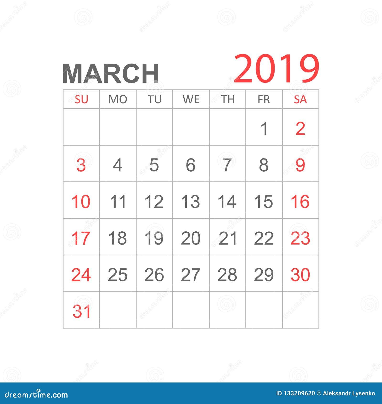 Calendar March 2019 Year In Simple Style  Calendar Planner Design